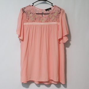 Suzanne Betro pink lace embroider flutter blouse L